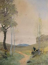 20th Century English School. Path before cottage and valley on a summer's day, watercolour, 17cm x 2
