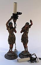 A pair of 19th Century spelter figures, each in classical dress highlighted in colours on circular f