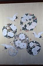 20th Century Chinese school. Storks and flowers, watercolour on silk, 68.5cm x 59.5cm.