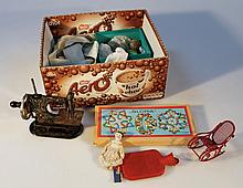 A quantity of various bygones, to include a miniature sewing machine, a quantity of various dolls, t