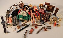 A quantity of miniature and doll's furniture, to include a copper kettle 8cm high, piano, grandfathe