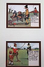 Charles Crombie. Comical Golfing Rules prints, 15cm x 20cm. (6 in 3 frames)