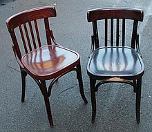 Six various bentwood dining chairs.