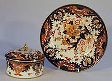 An early 19th Century Royal Crown Derby jar and cover, the domed lid with gilt knop, decorated with