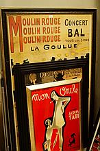 A quantity of Moulin Rouge and other posters, to include Jacques Tati, La Goulue poster, 148cm x 90c