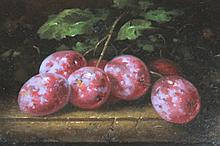 Howard Shingler (b.1953). Still life plums on a table, oil on board, signed, 20cm x 28cm.  This