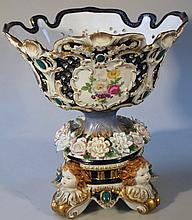An R K Dresden centrepiece, the shaped part pierced florally decorated bowl raised on a florally enc