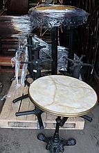 Various cast metal table bases, with associated tops. (a quantity)