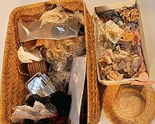 A quantity of 19th Century and later dolls wigs, other accessories to include miscellaneous boots, f