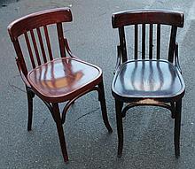 Ten various bentwood dining chairs.