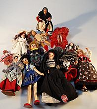A quantity of 20th Century dolls, to include a J collectors character doll in Irish dress on a moder