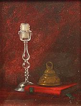 Jay Ward (20th Century). Candle still life, oil on board, signed, 24cm x 19cm.