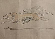 Mark Huskinson (b.1935). Greyhounds, watercolour, signed, 28cm x 50cm.