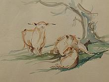Mark Huskinson (b.1935). Cattle, watercolour, 38cm x 55cm.