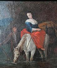 Follower of Nicolaes Pieterszon Berchem (1620-1683). Lady on white horse aside groom before trees an