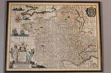 After Henericus Hundius (1597-1651). Polychrome map of France, 37cm x 49cm.