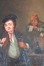 19th Century Dutch School. Tavern interior, figure with clay pipe and glass, bottle and table before