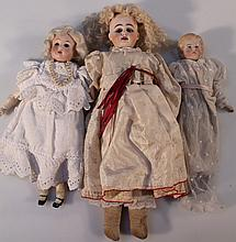 Three various 19thC bisque headed dolls