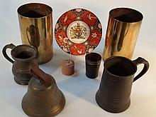 Various bygones and collectables, comprising two brass shell cases of cylindrical form, 22cm high, 1