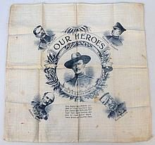 A WWI period printed handkerchief, of Our Heroes depicting Col.R.S.S Baden-Powell, Lord Kitchener, G