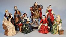 A Royal Doulton Henry VIII and six wives figure set, comprising Henry HN3350, on wooden plinth 29cm