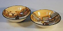 A Royal Doulton Dickensware bowl, Sam Weller D2973 and another Fagin D2973, 15cm wide, printed marks