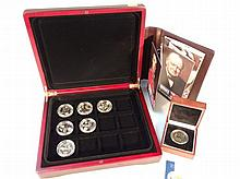 Six Great British Military Heroes 24ct layered proof crowns, to include Duke of Wellington, etc with