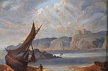 19th Century English School. Figure before boat drying sails, seascape with cliffs in the distance,
