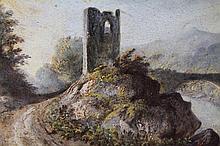 A 19th Century English School. Path before bridge and ruin, oil on board, 12cm x 15cm.