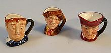 Three Royal Doulton character jugs, Fat boy, 'Arry, and The Cardinal, all tiny 4cm high, printed mar