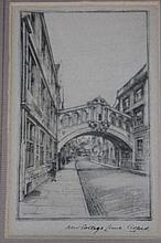 20th Century English School. New College Lane, Oxford, engraving, 12.5cm x 7.5cm, and an arrangement