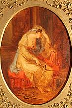18th Century English School. Seated lady in melancholic mood, holding bow, oval oil on canvas, 29cm