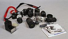 Various cameras and equipment, to include a Pentax K100D Super with lens, Pentax P50, 9cm high, othe