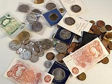 Various 20th Century GB coins and bank notes, to include a 10 shilling note T82878, and another, pou