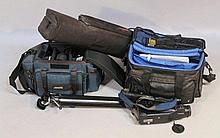 Various cameras and equipment, to include Sony camcorder in canvas bag, 35cm wide, various other acc