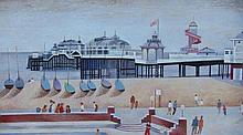 Alfred Daniels (b.1924). West Pier Brighton, oil on board, signed, dated 1970 and titled verso, 29.5