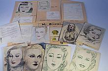 20th Century English School. Portraits and sketches, pencil, crayon and pen, some dated 1950, 23.5cm
