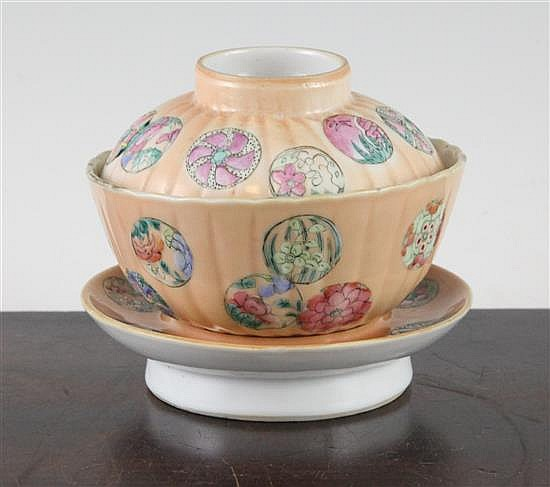A Chinese famille rose rice bowl, cover and stand