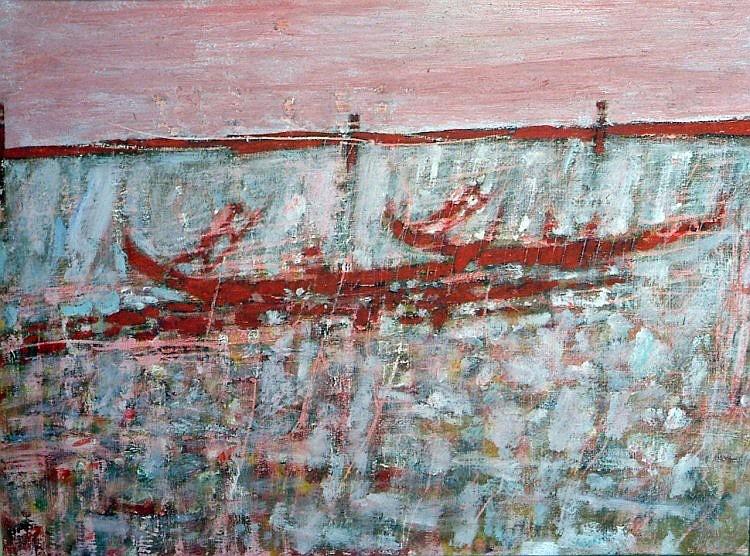 Brian Robb (1913-1979) Gondolas, Venice 20 x 26in.