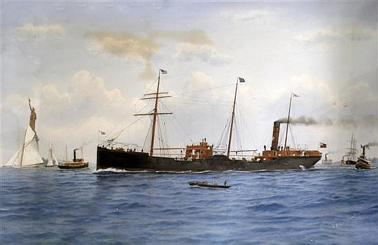 Richard H Neville Cumming (1875-1911) Lackawanna Steam Ship in New York harbour with other shipping and the Statue of Liberty