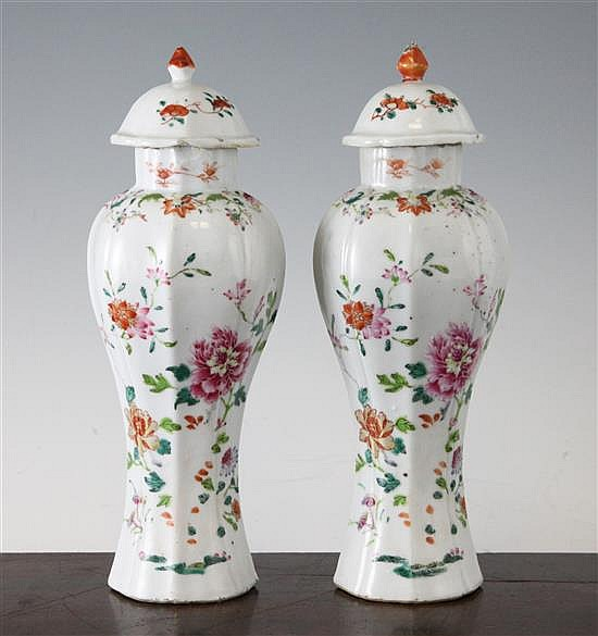 A pair of Chinese famille rose lobed baluster vases