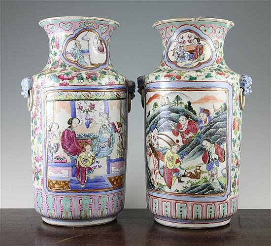 A pair of Chinese famille rose cylindrical vases