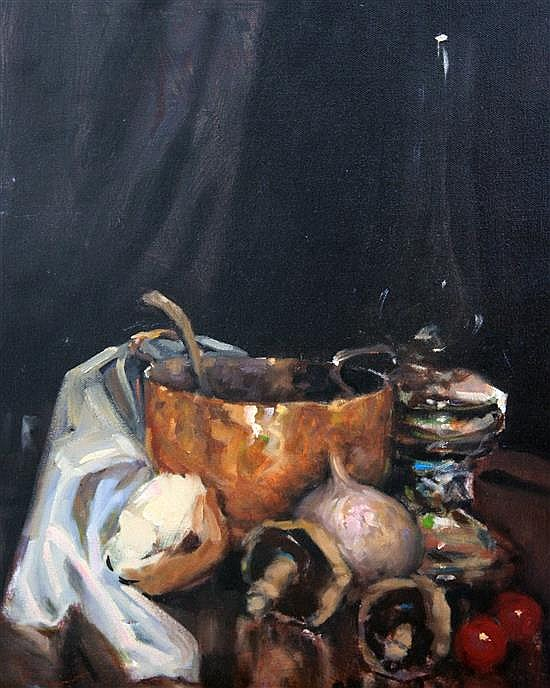 Ken Moroney (1949-) Still life of vegetables and pots, 19.75 x 15.75in. unframed.