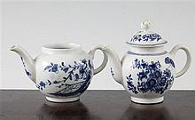 Two Worcester toy or miniature teapots and a cover, late 18th century,