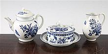 A group of Worcester pieces in the Three Flowers pattern, c.1775, teapot 13.5cm.