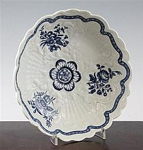 A Worcester blue and white junket dish, 23cm.