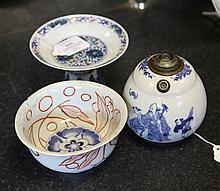 A Chinese blue and white opium pipe vessel, a doucai stem dish and a Japanese Imari bowl, 19th century, (3)