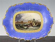 A unique Doe & Rogers of Worcester decorated H&R.Daniel dessert dish painted with a View of the Chain Pier, Brighton, in (rivetted)