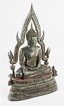 A large 19th century Thai bronze of a seated Buddha, 119cm.