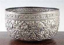 A large Burmese silver bowl, early 20th century, 27.5cm., 691 grams